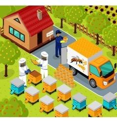 Isometric honey bee apiary beekeeper design flat vector
