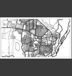 Juba south sudan city map in retro style outline vector