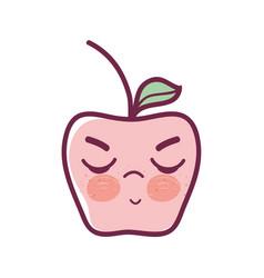 Kawaii angry and nice apple fruit vector
