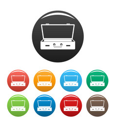 leather suitcase icons set color vector image