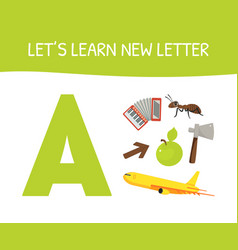 lets learn new letter a educational game vector image
