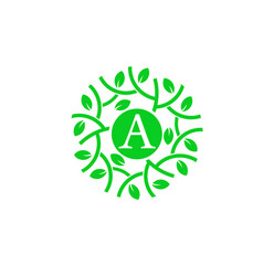 Letter a with green leaf circle logo concept vector
