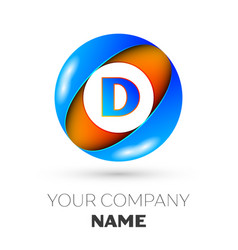 letter d logo symbol in the colorful circle vector image