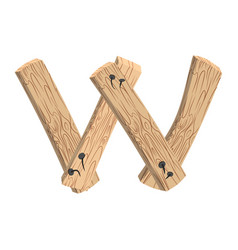 letter w wood board font plank and nails alphabet vector image