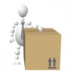 man with brown cardboard box vector image