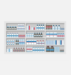 Medicines shelves in pharmacy shop drug store vector