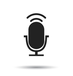 microphone icon flat microphone sign symbol with vector image