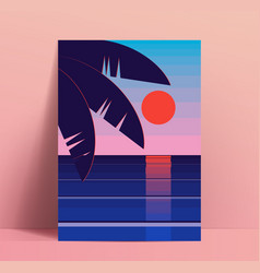 minimalistic summer poster design template with vector image