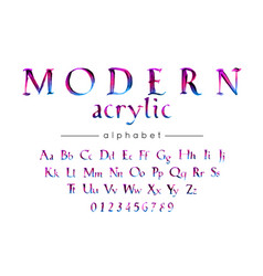 modern acrylic handwritten alphabet stylish vector image