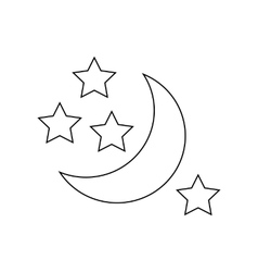 Moon and stars icon outline style vector image
