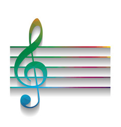 music violin clef sign g-clef colorful vector image
