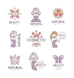 Natural Beauty Salon Set Of Hand Drawn Cartoon vector image