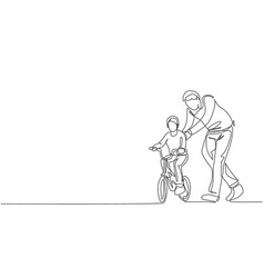 One continuous line drawing young father help vector