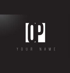 Op letter logo with black and white negative vector