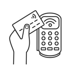 Payment terminal linear icon vector