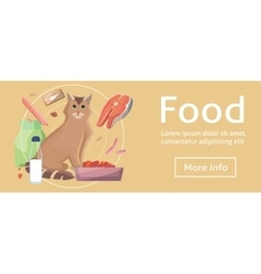 Pet cat food Cat with cat foods concept on vector