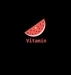 piece watermelon icon labeled vitamin vector image