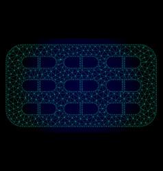 Pill blister polygonal frame mesh vector