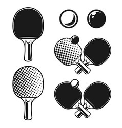 Ping pong table tennis monochrome objects vector