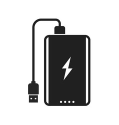 power bank with usb cable and lightning sign bold vector image
