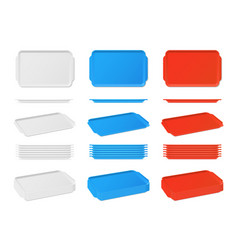 Realistic plastic blank food tray with handles vector