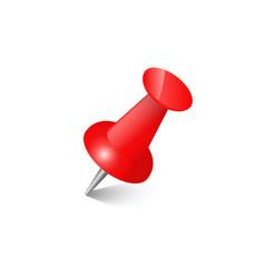 Red push pin thumbtack top view vector