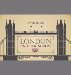 Retro postcard with famous tower-bridge in london vector