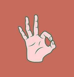 Retro Screen Print Hand Giving The OK Sign vector image
