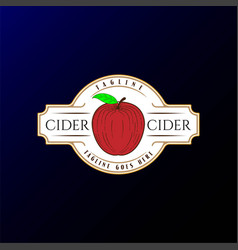 Retro vintage apple cider badge label logo design vector