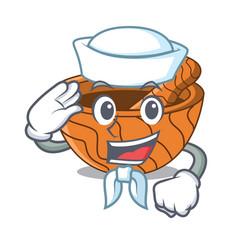 sailor handmade wooden mortar isolated on cartoon vector image