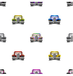 Seamless pattern multicolored old cars vector