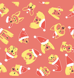Seamless pattern with yellow dogs in santa hat vector
