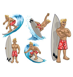 Set cartoon muscle white surfing man vector