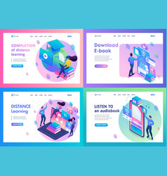 set landing page isometry templates online vector image