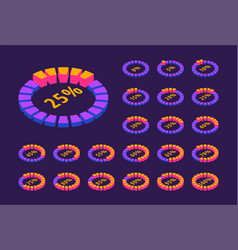 set neon circular progress loading bar isometric vector image