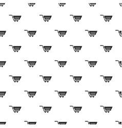 Shopping basket on wheels pattern vector
