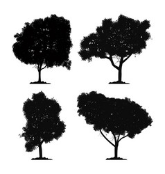 silhouette tree set and icon isolated black vector image