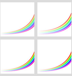 Simple rainbow curved line background set vector image