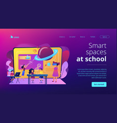 Smart spaces concept landing page vector