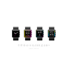 smart watch design and icons set vector image
