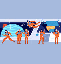 spaceship crew ship station interior spacecraft vector image