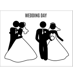 Stick figure wedding couples vector