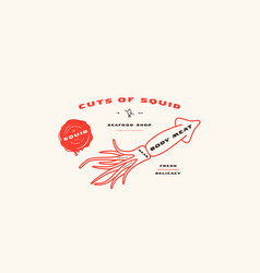 Stock squid cuts diagram in thin line style vector