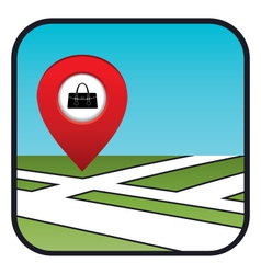 Street map icon with the pointer store bags vector image