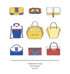 Stylish collection of 9 fashion bags with vector