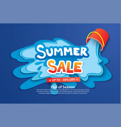 summer sale with paper cut bucket and water for vector image