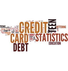 Teen credit card debt statistics text background vector