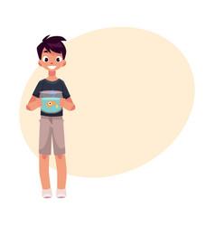 teen teenage boy kid holding aquarium with vector image