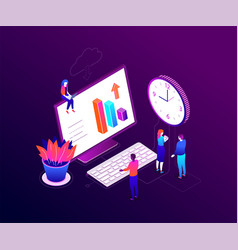 Time management - modern colorful isometric vector