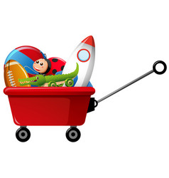 toys in red wagon vector image